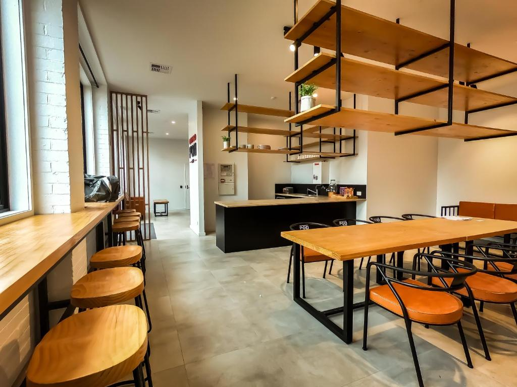 Dining area at the capsule hotel
