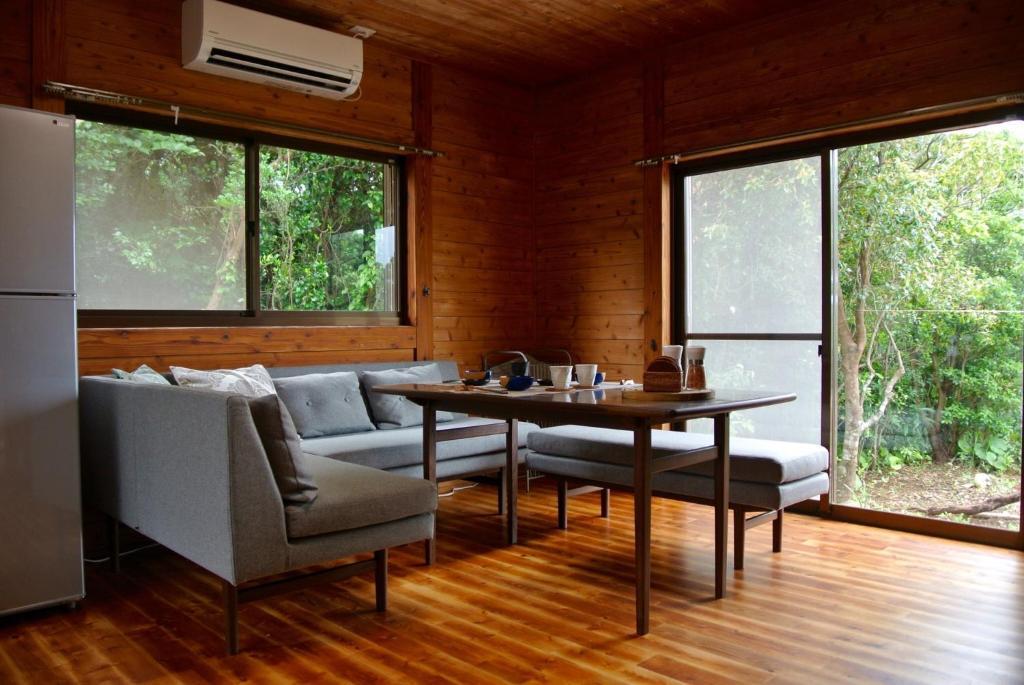 A seating area at Hirauchi Hot Spot