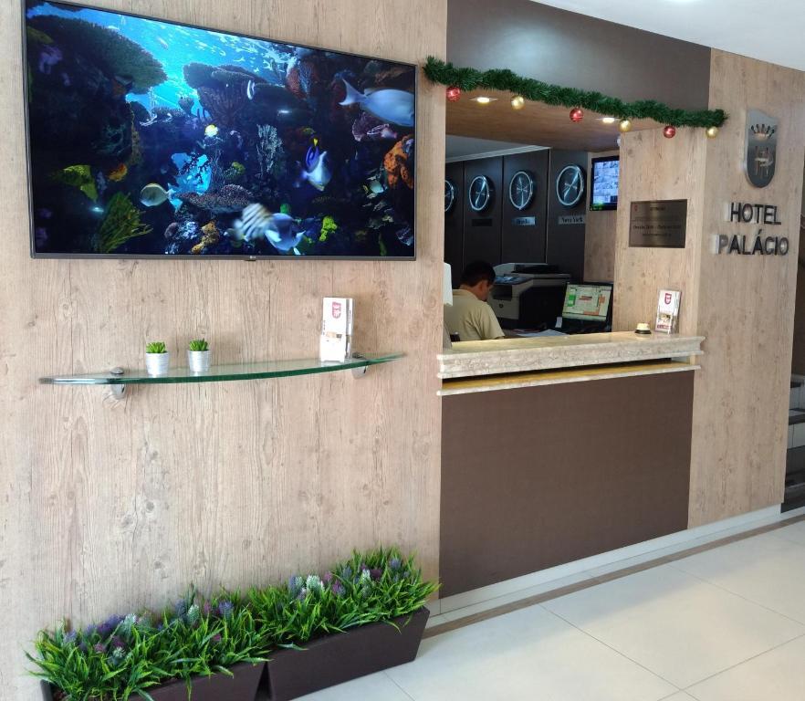 The lobby or reception area at Hotel Palacio