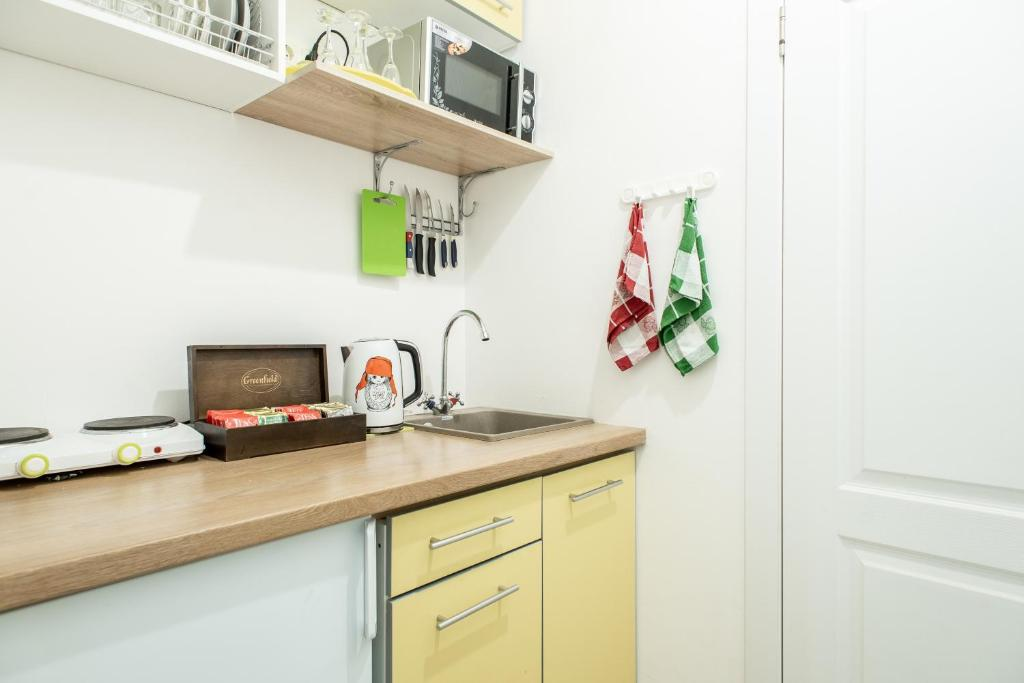 A kitchen or kitchenette at Adjiutant Mini-hotel