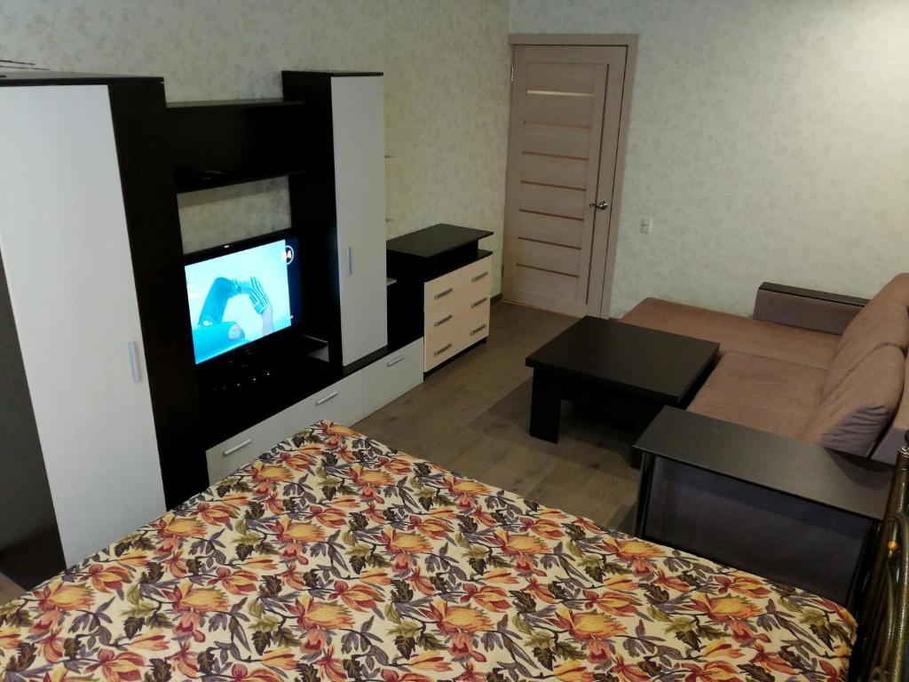 A television and/or entertainment center at 1-комнатная в Новом доме!