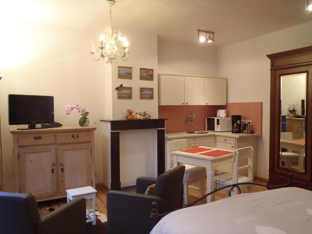 Küche/Küchenzeile in der Unterkunft Knokke-Guestroom, diervriendelijk en centraal in Knokke met gratis fietsgebruik!