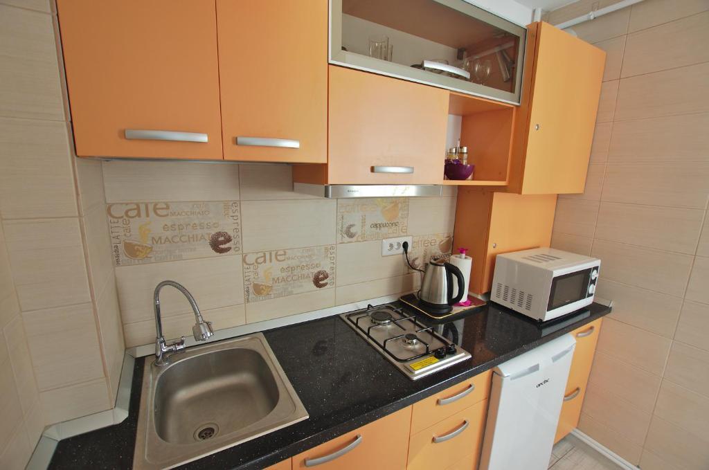 A kitchen or kitchenette at 4 ApartsHotel Galati Faleza