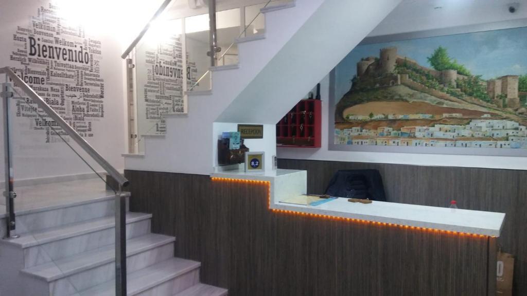 The lobby or reception area at Hostal Maribel