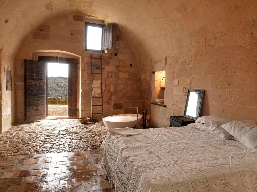 A bathroom at Sextantio Le Grotte Della Civita