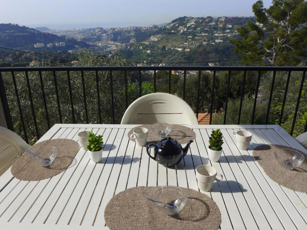 A balcony or terrace at Holiday Home St André de la Roche