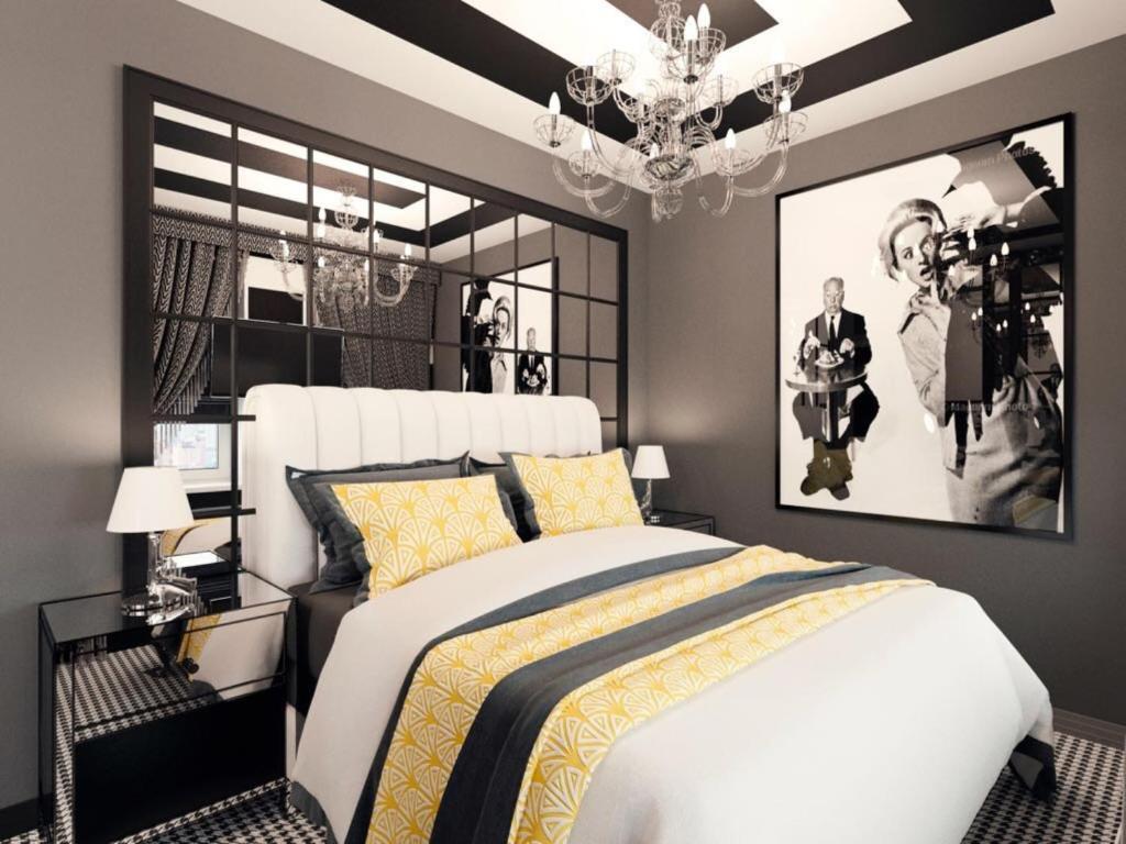 Кровать или кровати в номере Дизайн Отель Софит