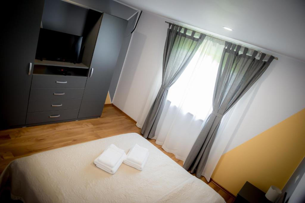 Un televizor și/sau centru de divertisment la Pensiunea Danubio