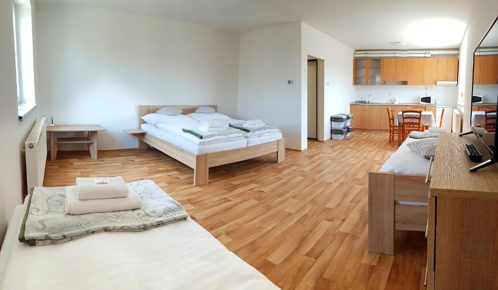 Postel nebo postele na pokoji v ubytování A studio Veselka Litomyšl