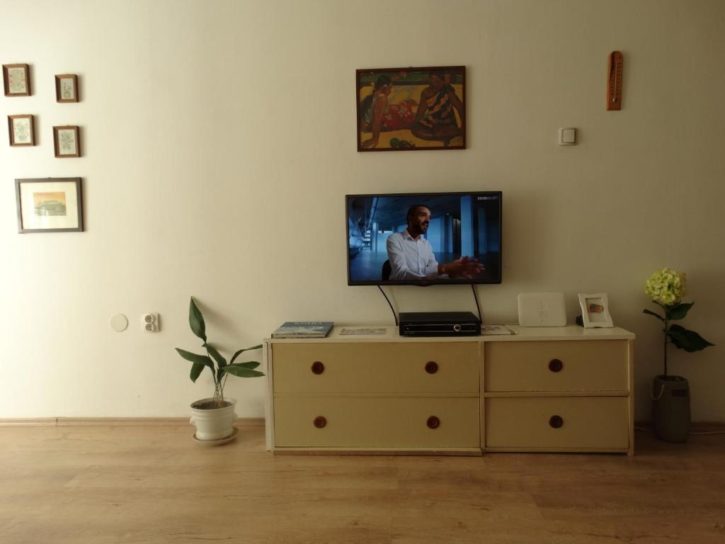 A television and/or entertainment center at I&A apartment