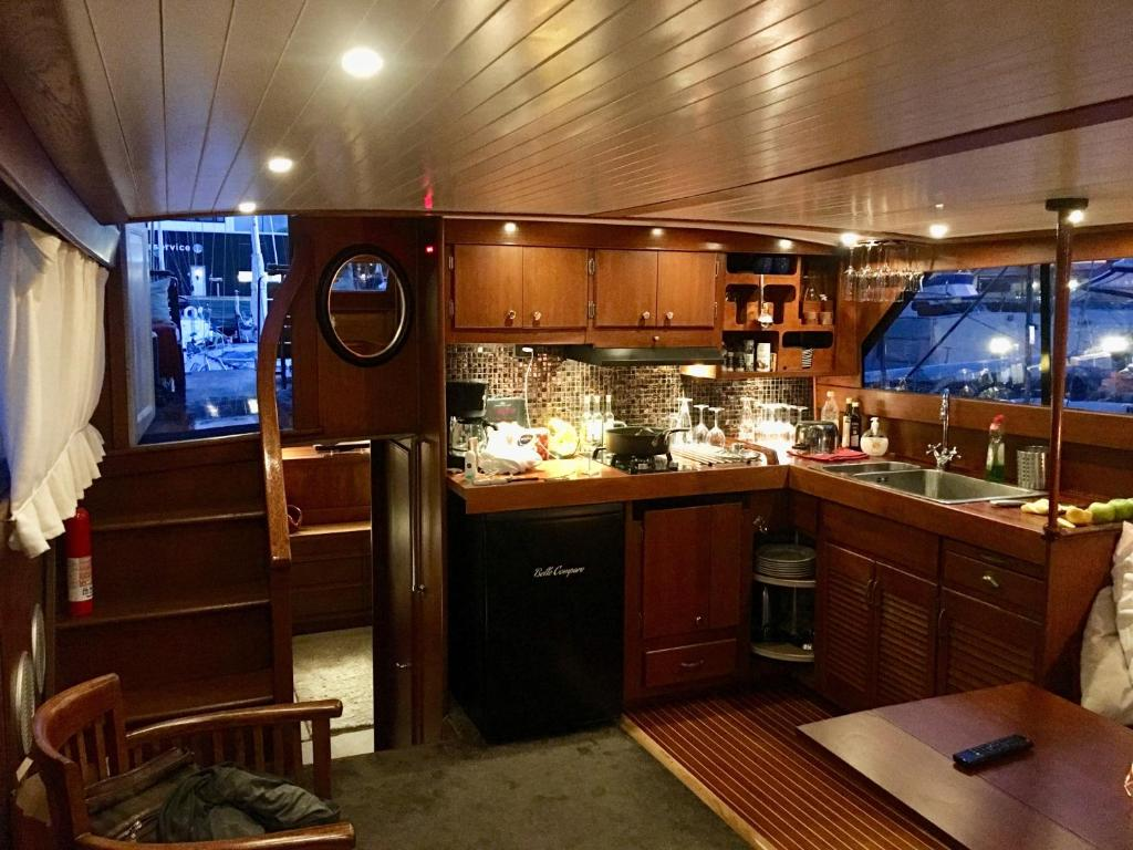 A kitchen or kitchenette at Motor yacht