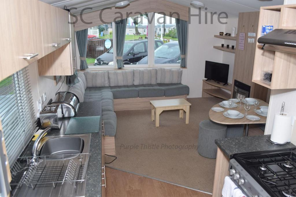 A seating area at Deluxe Seton Sands Caravan Hire