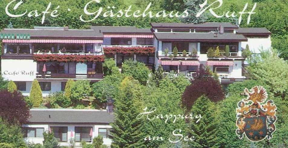 Blick auf Gästehaus Café Ruff aus der Vogelperspektive