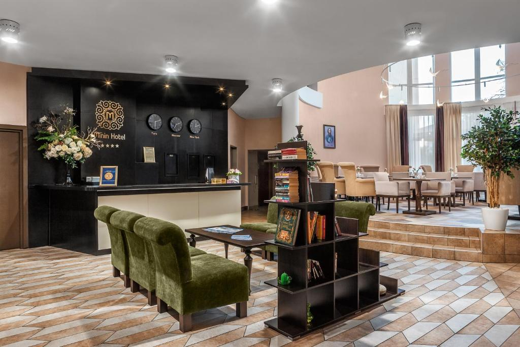The lobby or reception area at Hotel Minin on Pozharskogo Street