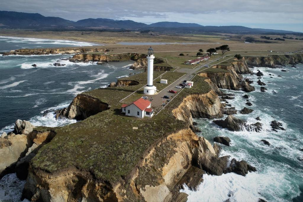 A bird's-eye view of Point Arena Lighthouse