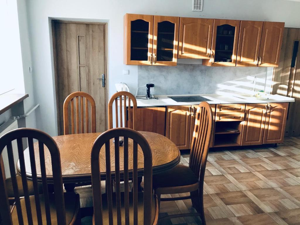 A kitchen or kitchenette at Hostel-Kwatery Świerklaniec
