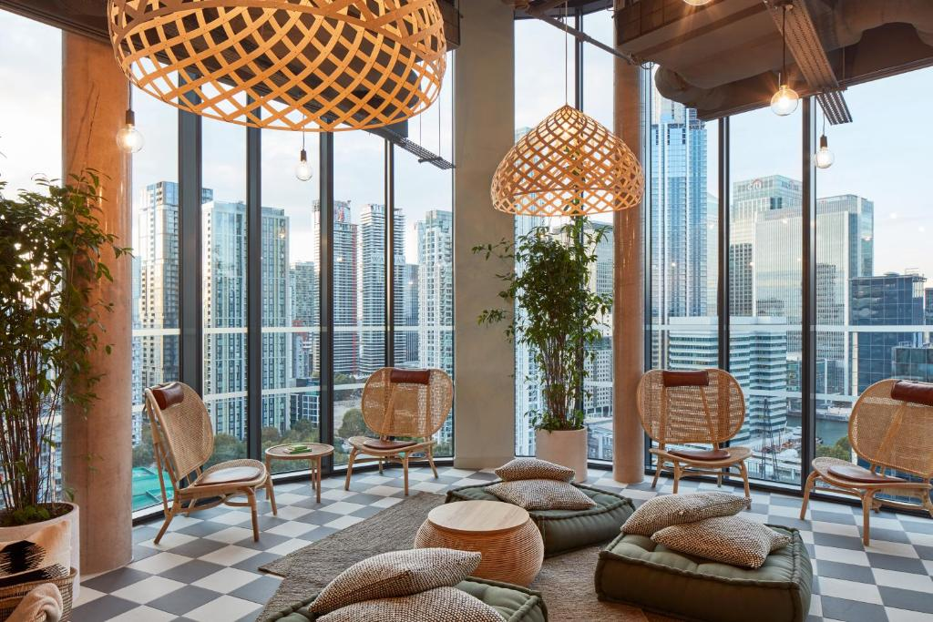 A seating area at The Collective Canary Wharf