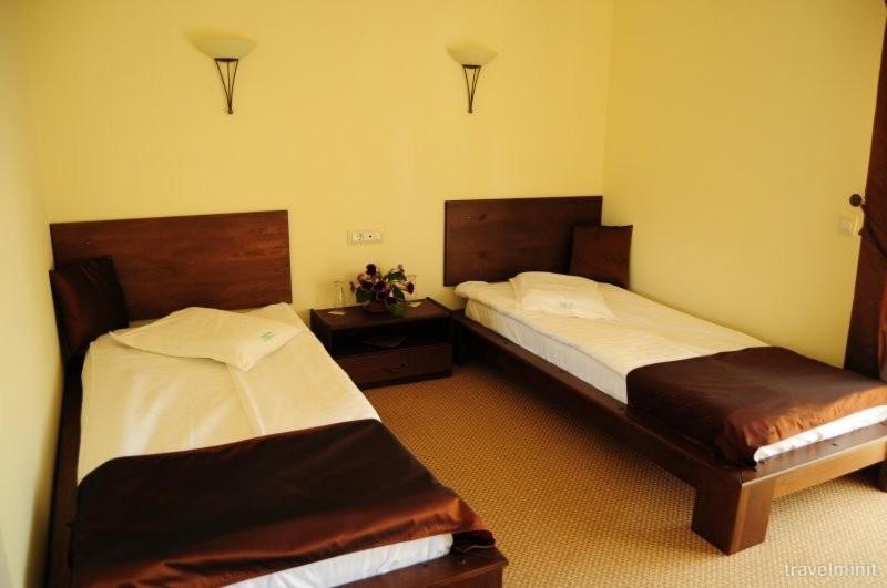 Un pat sau paturi într-o cameră la Pensiunea Diva