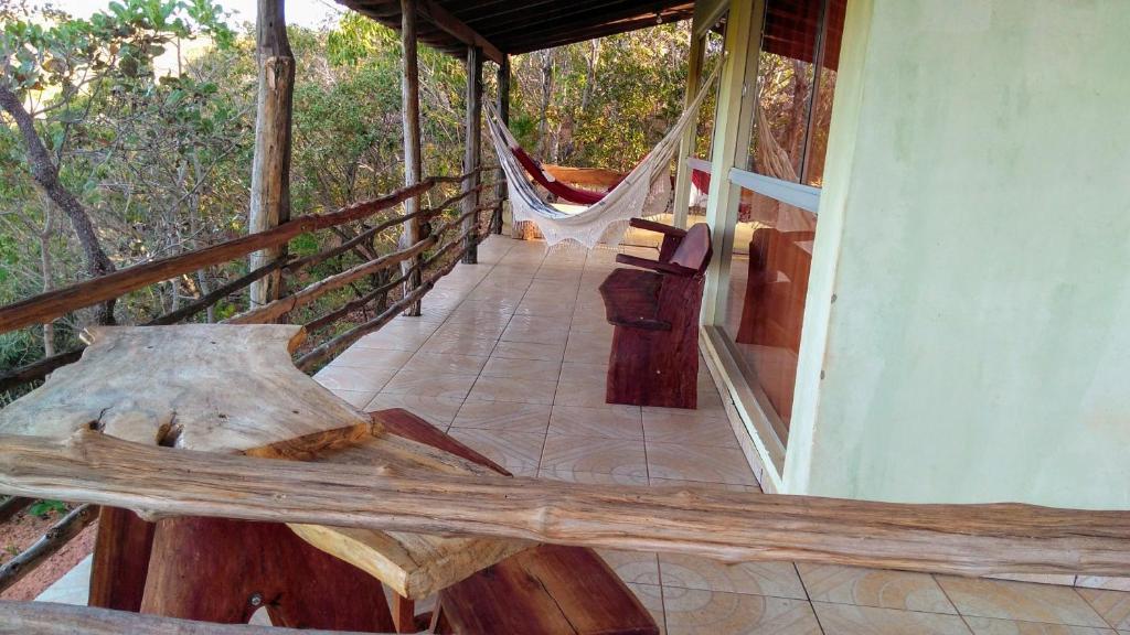 A balcony or terrace at Fazenda Hotel Bem Ecológico
