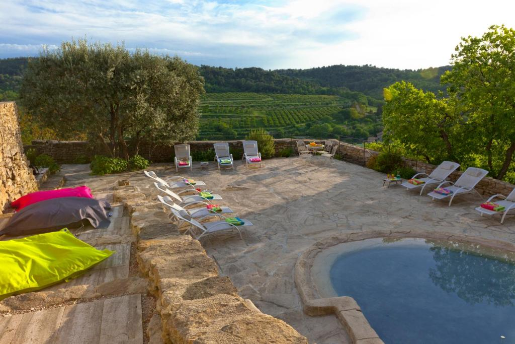 A view of the pool at Château la Roque Provence or nearby