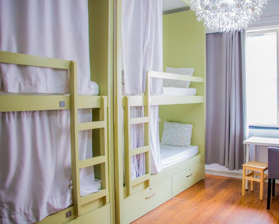 A bunk bed or bunk beds in a room at Travel & Live Porto Hostel