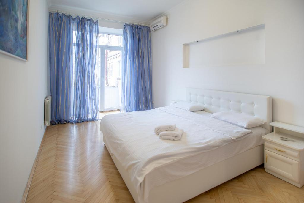 Kiev Accommodation Apartment on Trokhsviatytelska st. tesisinde bir odada yatak veya yataklar