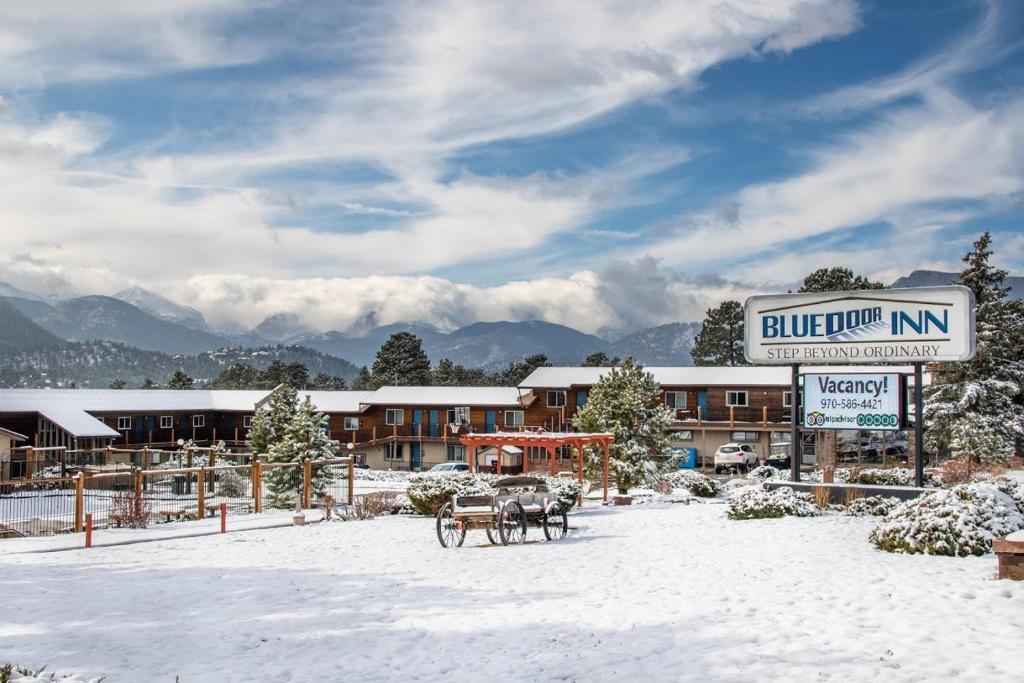 Blue Door Inn during the winter