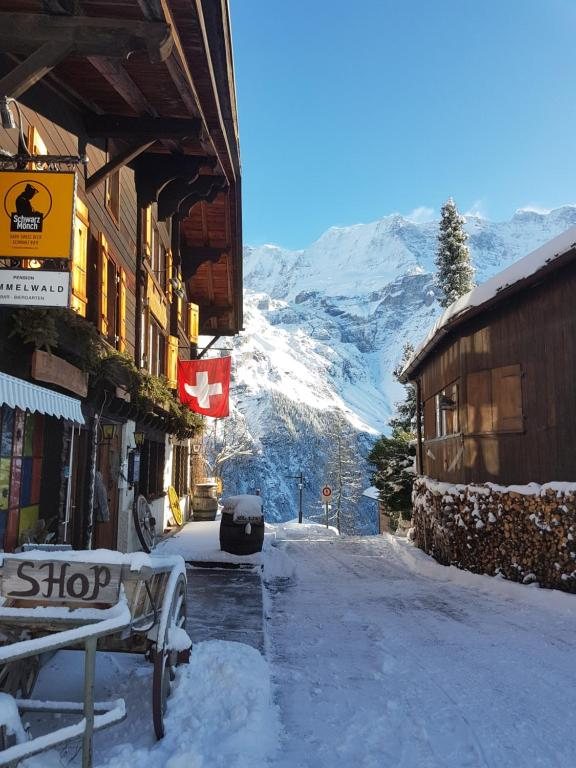 Pension Gimmelwald during the winter
