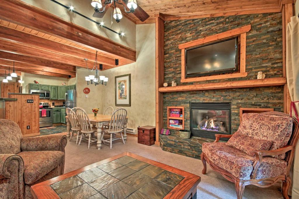 A seating area at Cozy Creekside Getaway - Walk to Thunderhead Lift!