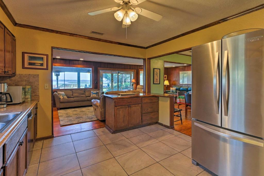 A kitchen or kitchenette at Waterfront Baisden's Bluff Home with Dock & Views!