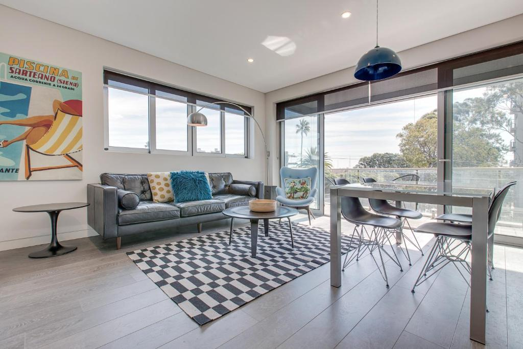 A seating area at Explore Sydney from a new North Shore apartment