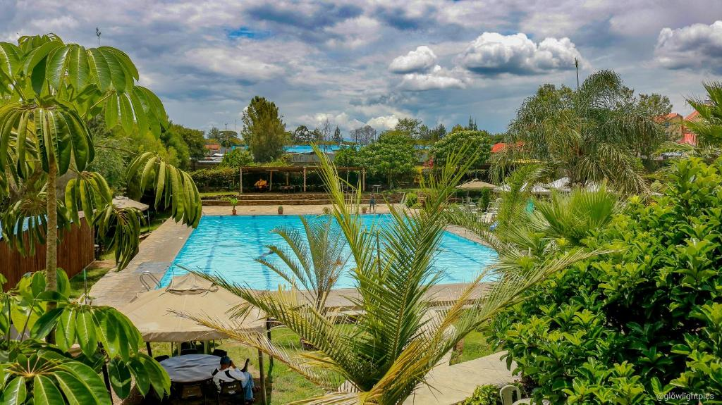 A view of the pool at Kivu Resort or nearby