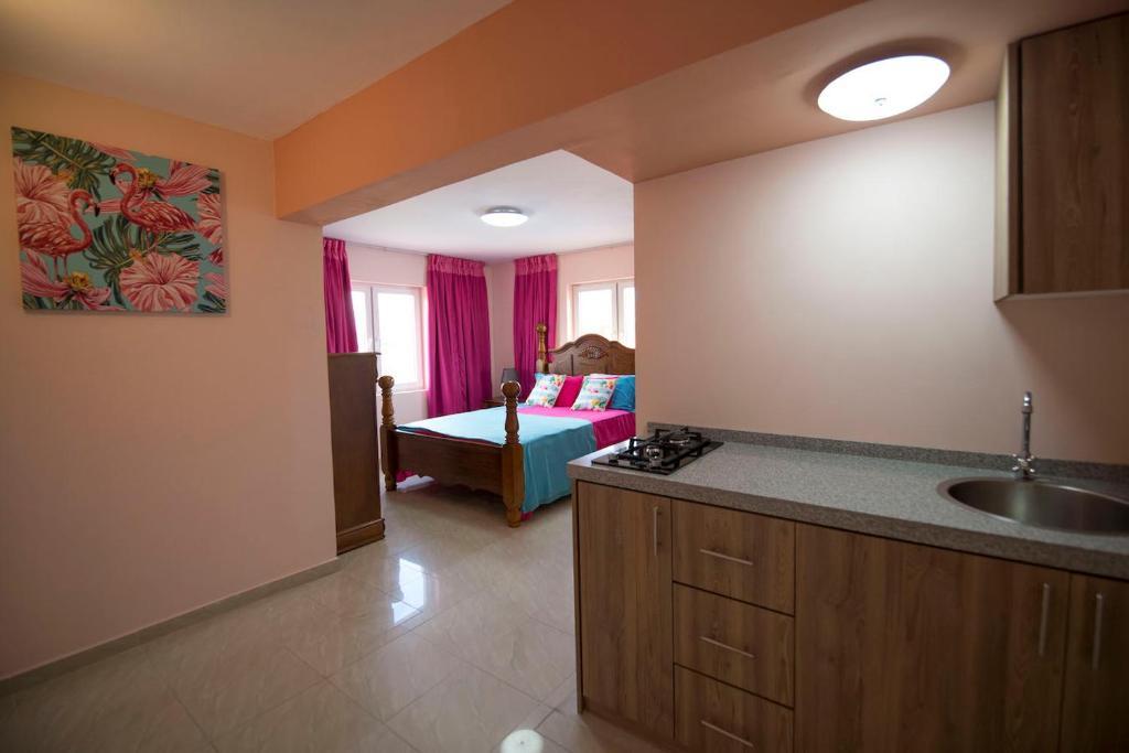 A cozinha ou cozinha compacta de Omira Apartments Suites. Flamingo room
