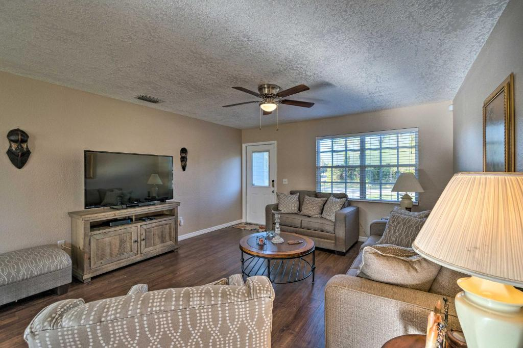 A seating area at North Port Gem Near Beaches, Golf, and Shops!