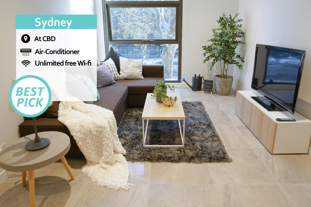 A seating area at SYD CBD 1 Bed NEW Apt Walk To Darling Harbour!!!