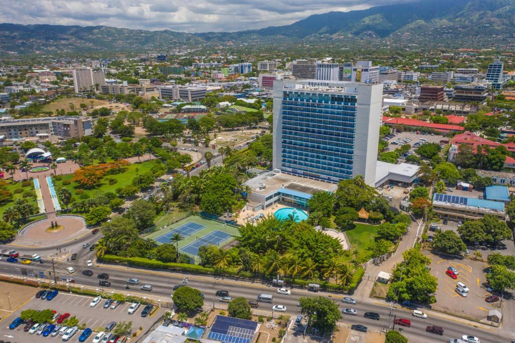 A bird's-eye view of The Jamaica Pegasus Hotel
