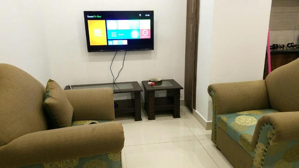 A seating area at 1 BHK clean and cozy apartment Islamabad