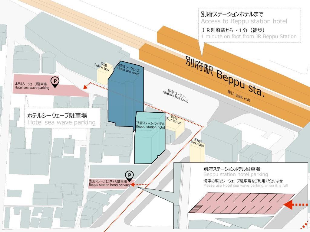 The floor plan of Beppu Station Hotel