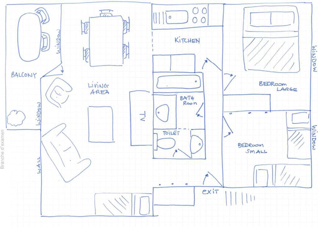 Grundriss der Unterkunft Calm Family Apartment