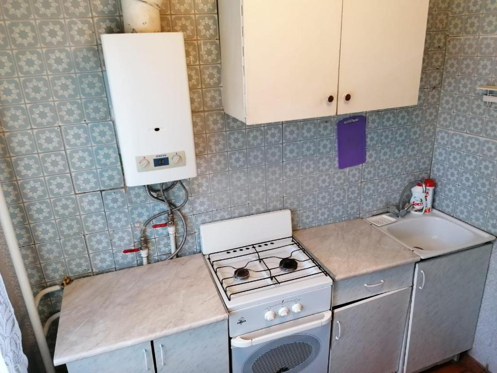 Кухня или мини-кухня в Квартира рядом с городским парком
