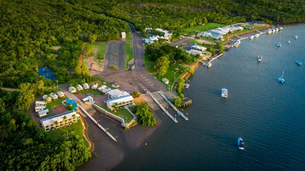 A bird's-eye view of Hinchinbrook Marine Cove Resort