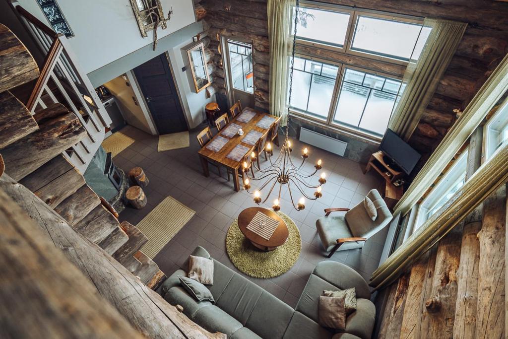 Oleskelutila majoituspaikassa Sielikkö Aurora Log Apartments