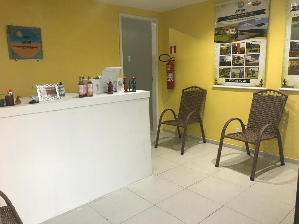 The lobby or reception area at Hospedando Flats
