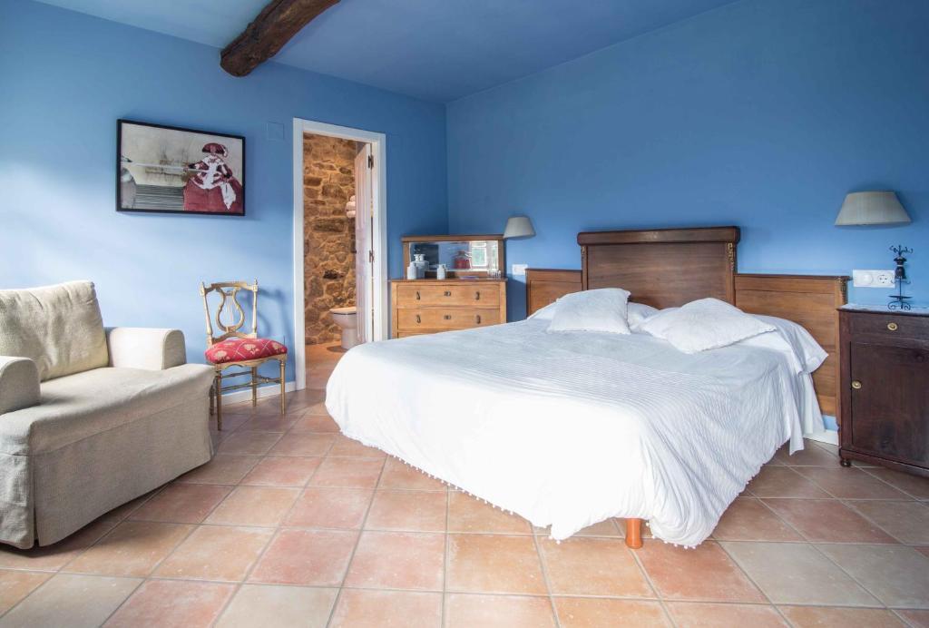 Cama o camas de una habitación en Pazo Da Cruz