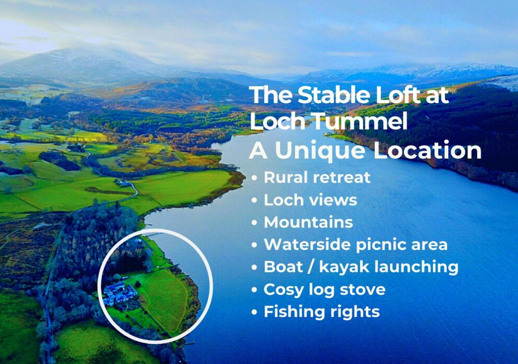 A bird's-eye view of The Stable Loft at Loch Tummel