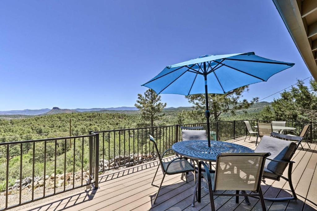 A balcony or terrace at Prescott Hideaway with Deck, Sauna & Mountain Views!
