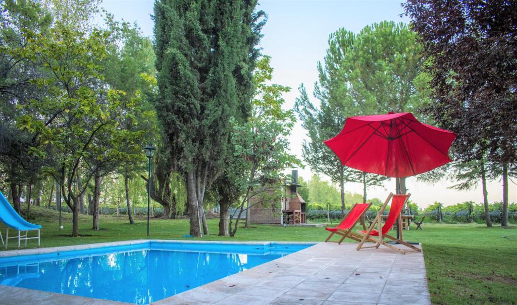 The swimming pool at or near Finca Viñas de Luján, Casa entre viñedos orgánicos, camino del vino