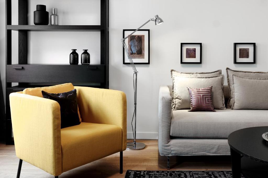 Ein Sitzbereich in der Unterkunft SAXX Apartments Hagen