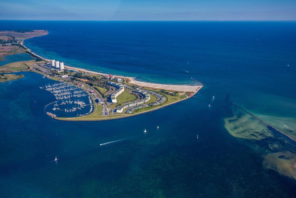 Blick auf Urlaub-Fehmarn-Südstrand aus der Vogelperspektive