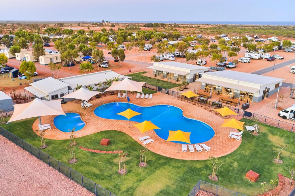 A bird's-eye view of RAC Exmouth Cape Holiday Park